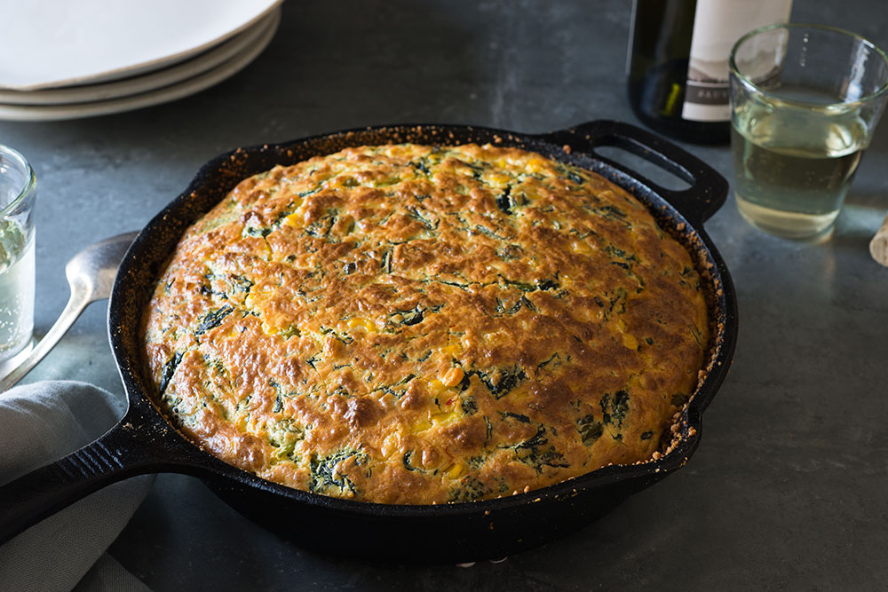 broccoli-rabe-corn-and-cheese-souffle