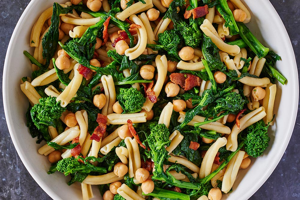 Broccoli Rabe Chickpea Bacon Pasta Bowl