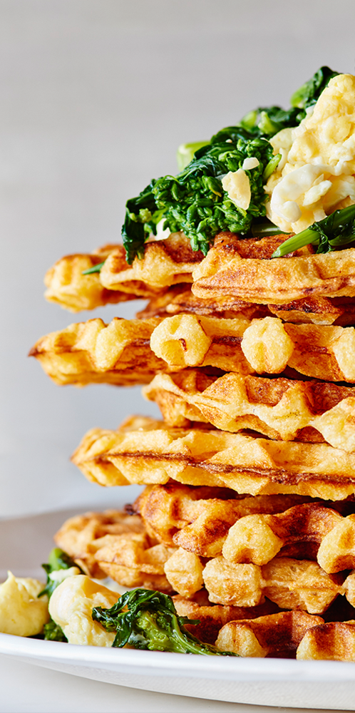 cheddar-waffles-with-broccoli-rabe-and-scrambled-eggs