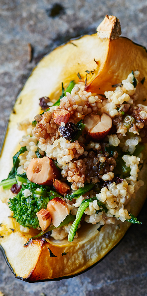 Squash with Broccoli Rabe & Quinoa Stuffing - Andy Boy