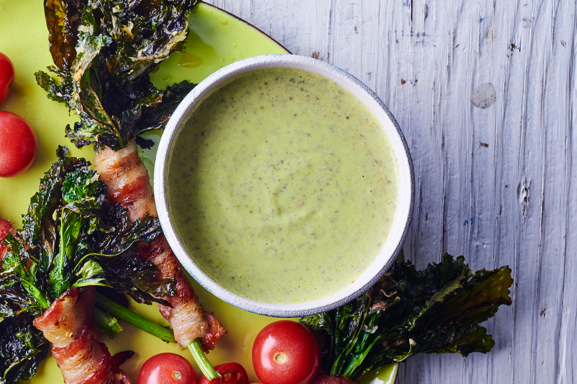 Garlic Dip Bacon Wrapped Broccoli Rabe