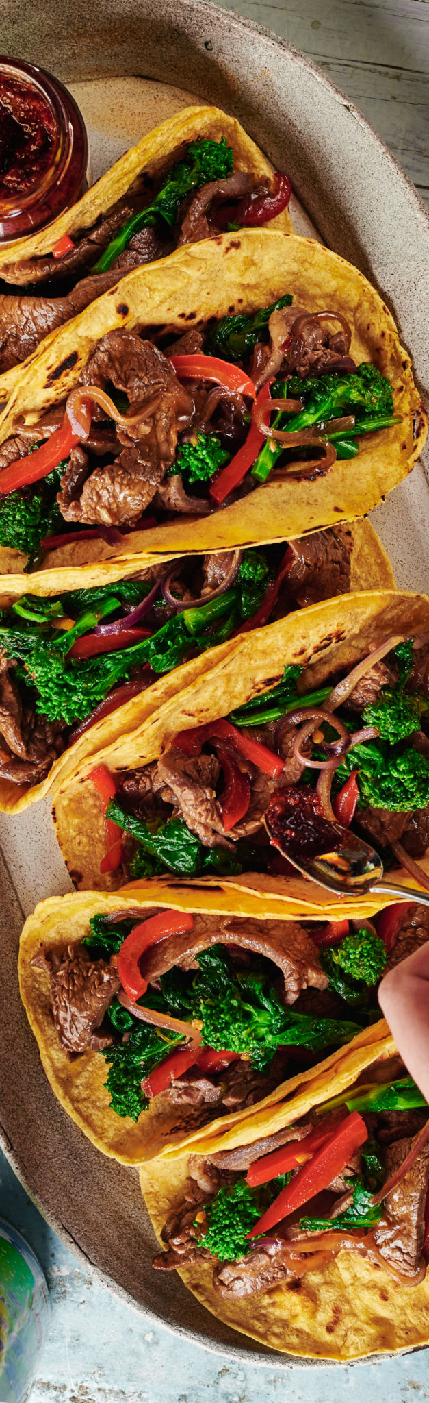 Korean Beef Tacos with Broccoli Rabe