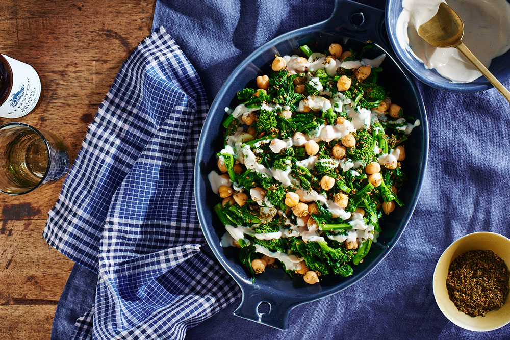 Broccoli Rabe with Chickpeas, Za'atar, and Tahini Drizzle