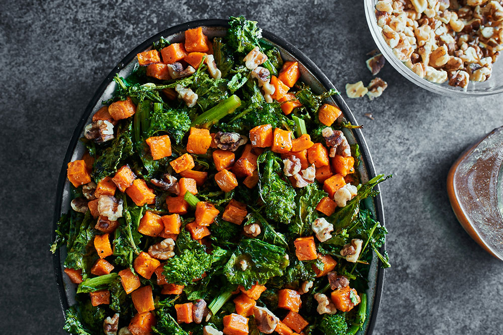 Broccoli Rabe and Warm Roasted Sweet Potato Salad with Cinnamon-Maple Vinaigrette