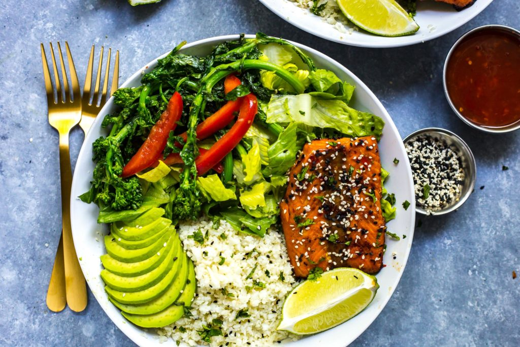 Chili Lime Salmon Bowls With Broccoli Rabe And Cauliflower