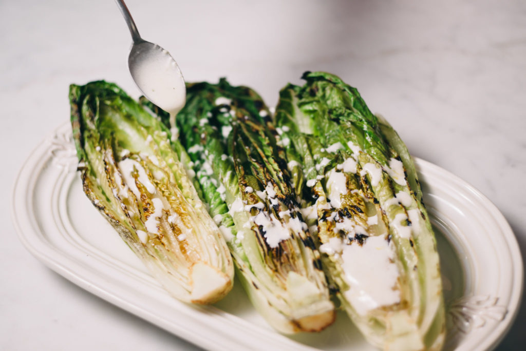 Grilled Romaine Hearts with Lemon Yogurt Dressing