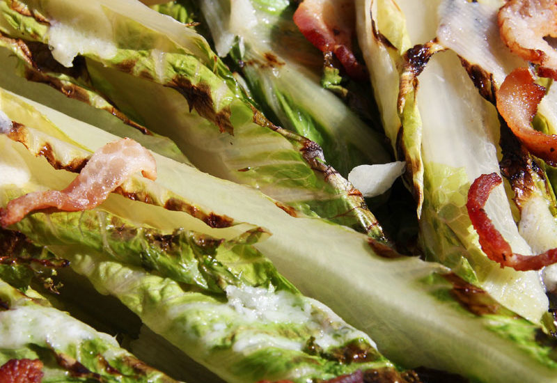 Seared Romaine Hearts Gratin with Bacon, Zesty Vinaigrette