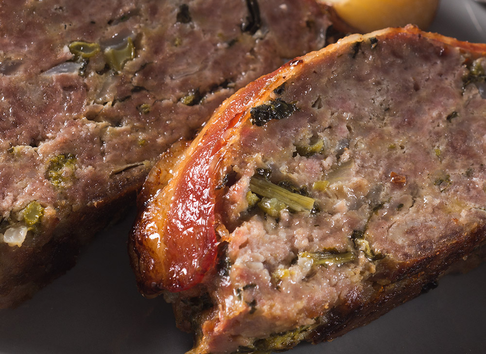 Broccoli Rabe Meatloaf with Bacon