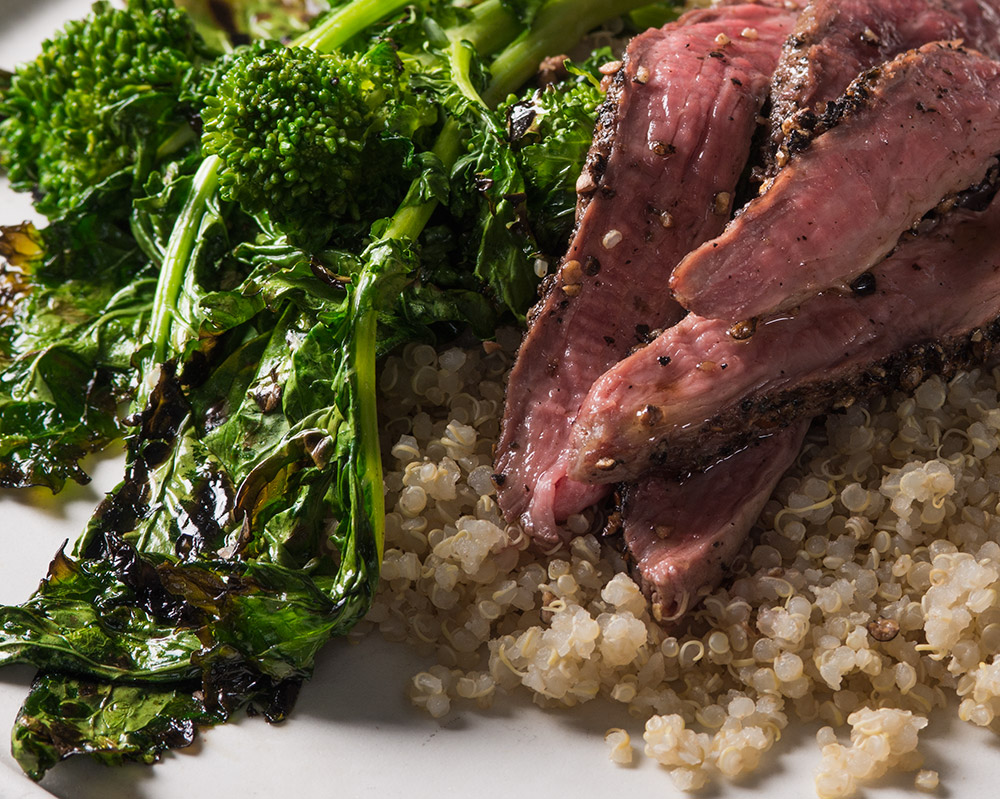 Broccoli Rabe and Peppercorn Steak Salad