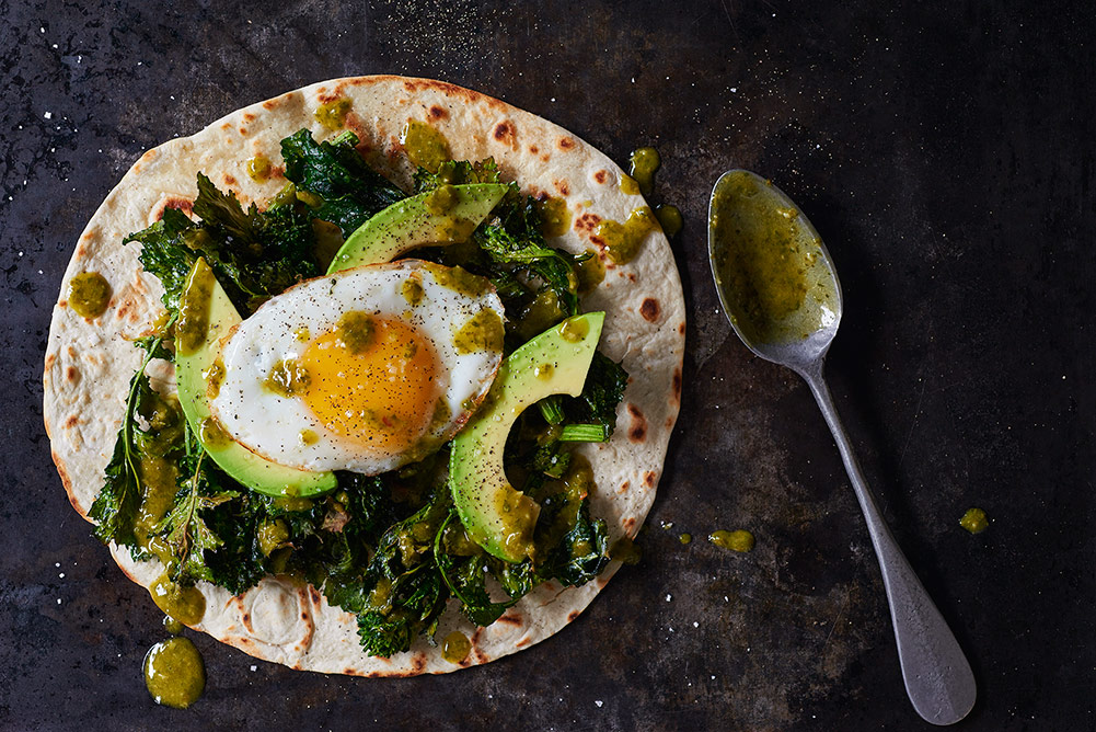 Roasted Broccoli Rabe, Avocado and Egg Tostada with Chimichurri