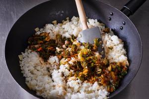 broccoli-rabe-kimchi-fried-rice-in-skillet