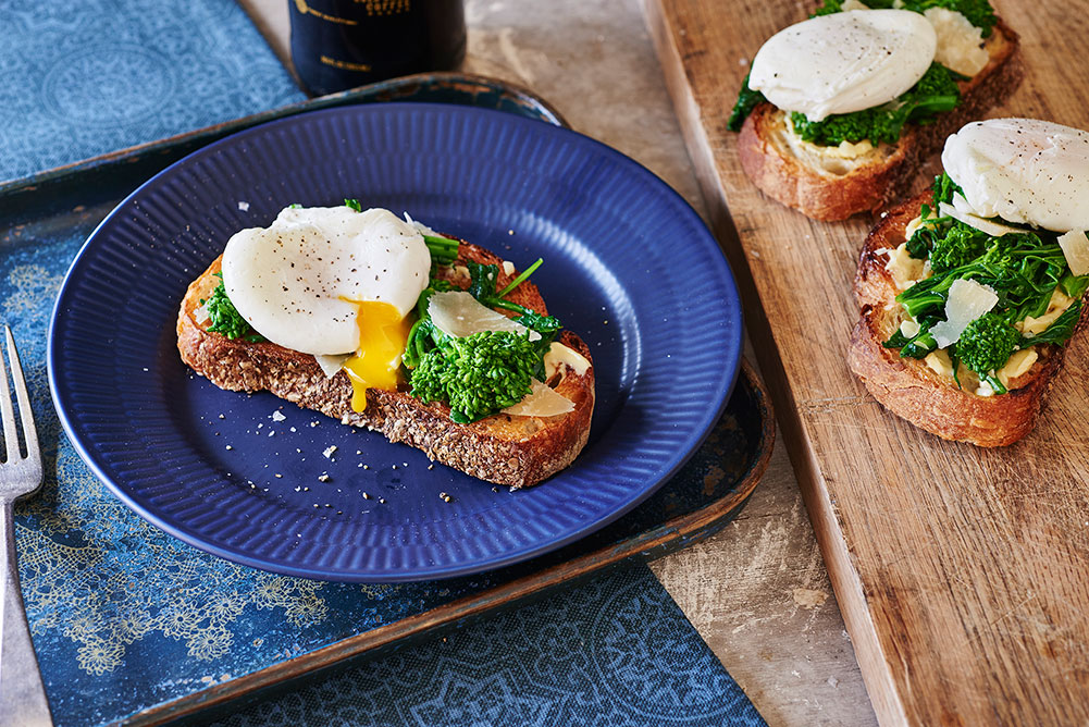 Garlicky Broccoli Rabe Toast with Poached Egg