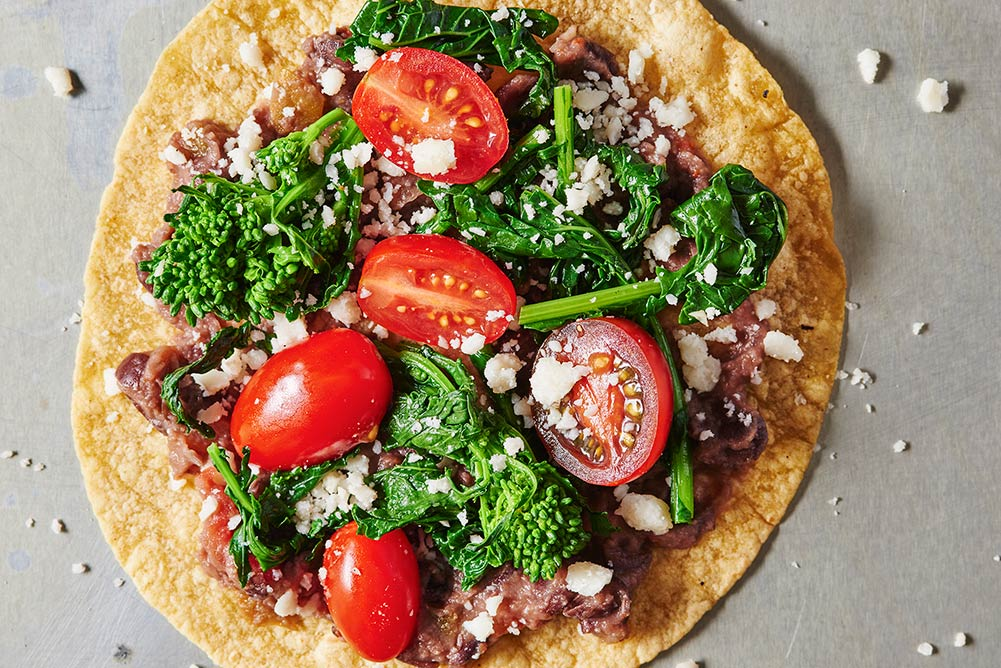 Tortilla Pizzas with Black Bean Mash and Broccoli Rabe