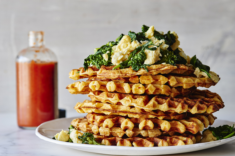 cheddar-waffles-garlicky-broccoli-rabe-scrambled-eggs