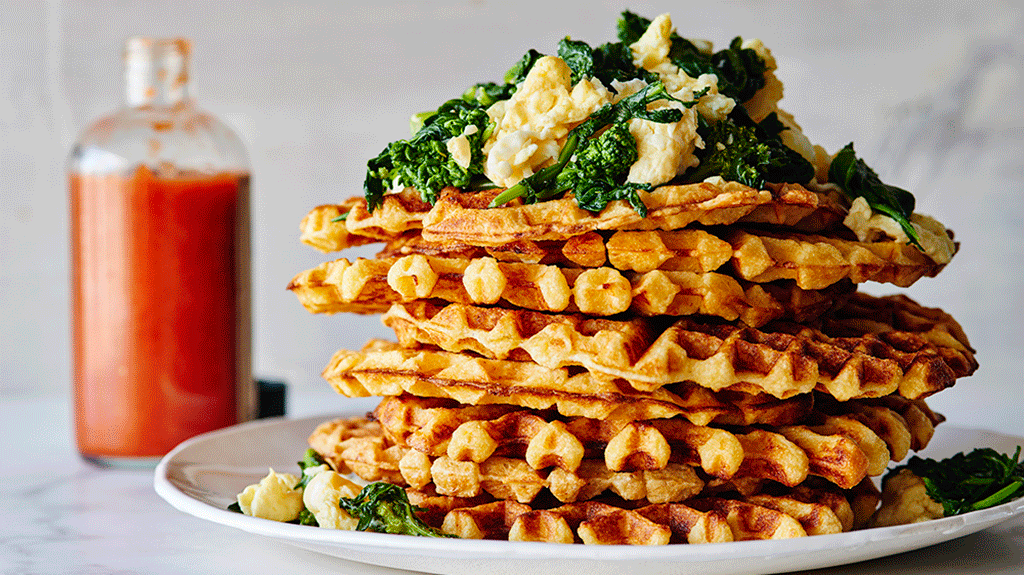 Cheddar Waffles with Garlicky Broccoli Rabe and Scrambled Eggs