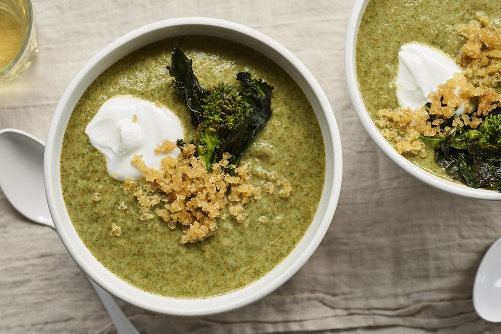 Creamy Broccoli Rabe Soup with Quinoa