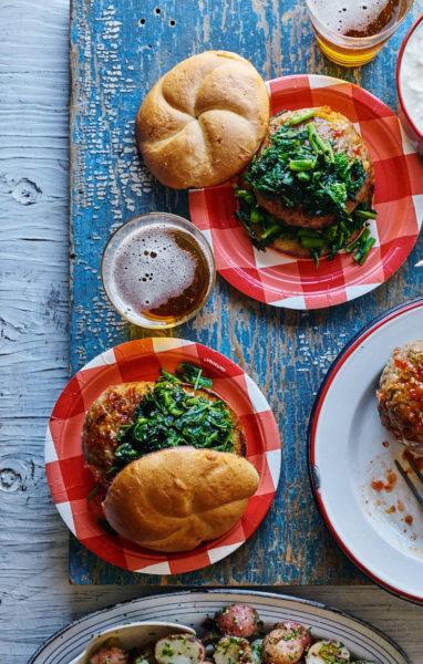 glazed-chicken-burgers-broccoli-rabe-lemon-mayo