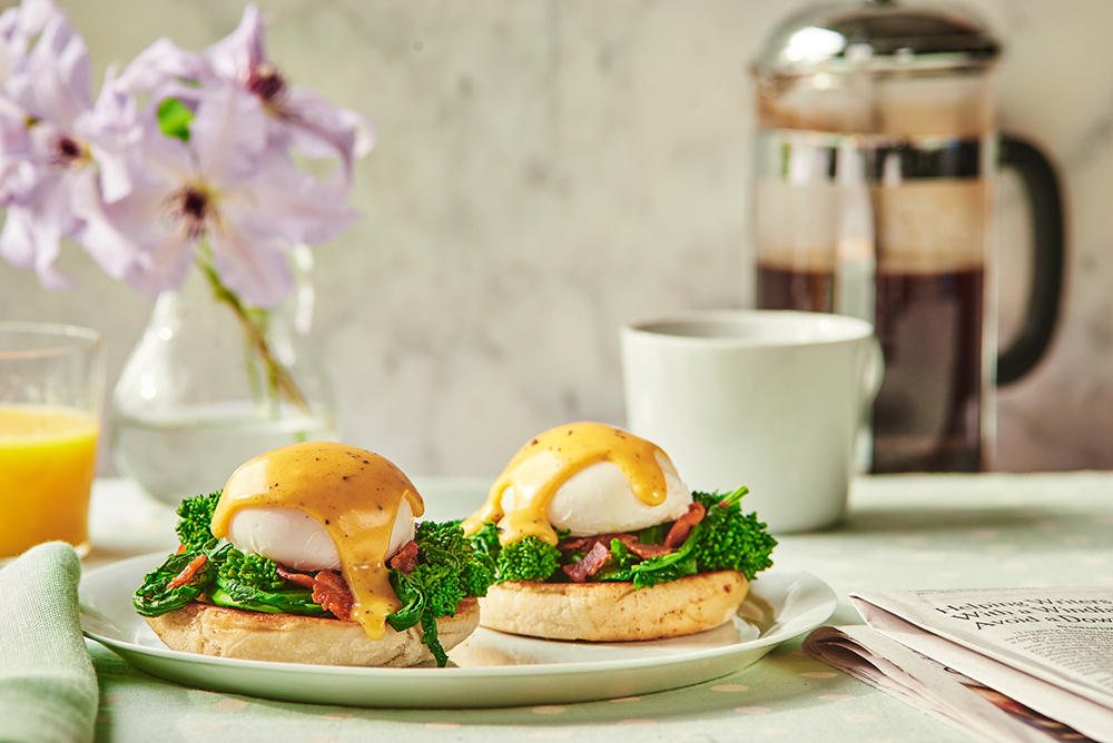 Eggs Benedict with Broccoli Rabe and Bacon