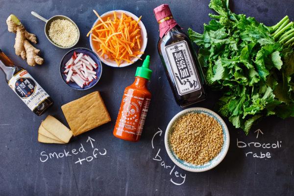 ingredients-broccoli-rabe-banh-mi-barley-bowl