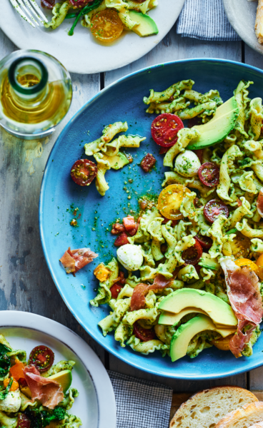 avocado-caprese-pasta-grilled-broccoli-rabe-andy-boy