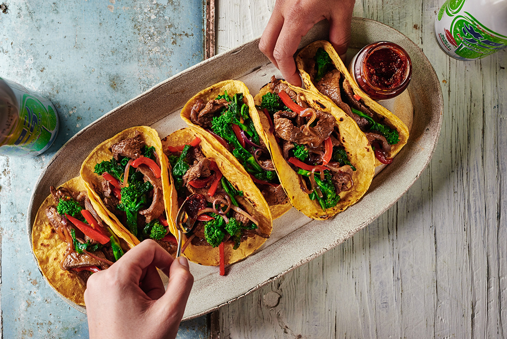Spicy Korean Beef Tacos with Broccoli Rabe