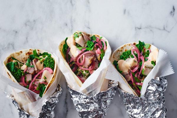 broccoli-rabe-tacos-porchetta-pickled-onion-chipotle-mustard-andy-boy