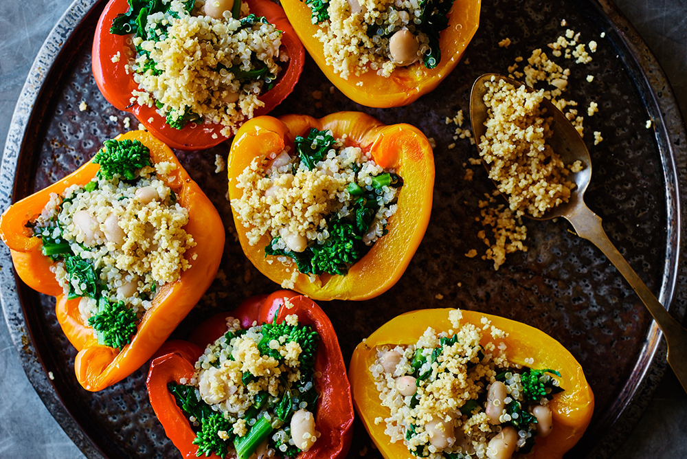 Broccoli Rabe Stuffed Peppers with Pine Nut Parmesan