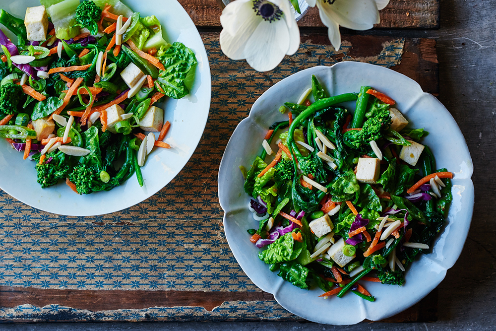Chinese Tofu Chop Salad with Broccoli Rabe