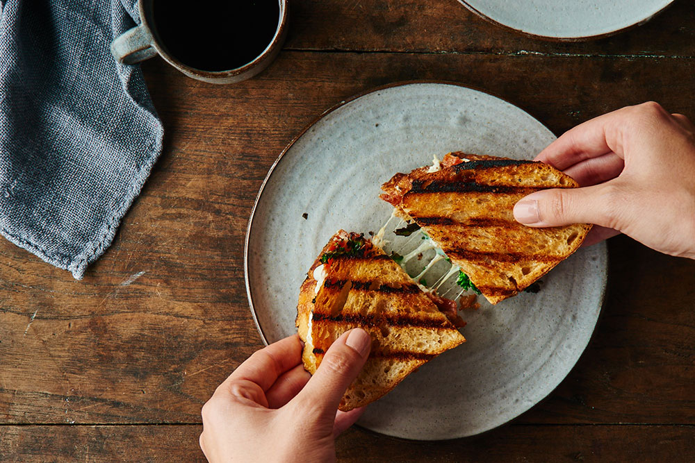 Charred Broccoli Rabe and Prosciutto Panini