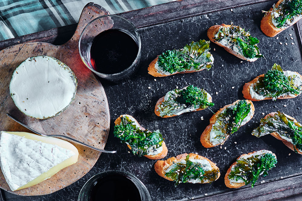Sesame Broccoli Rabe Crostini