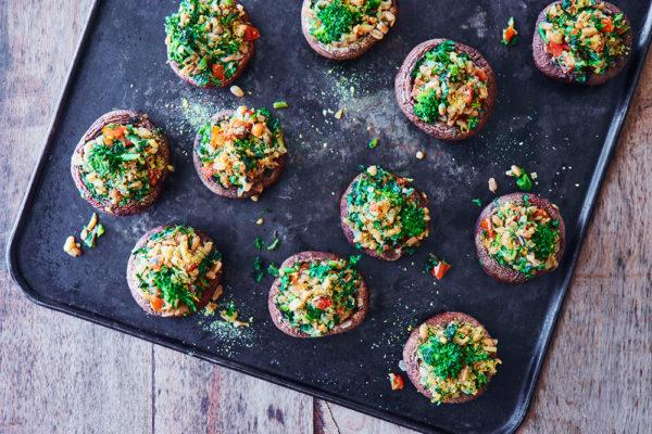 broccoli-rabe-farro-stuffed-mushrooms