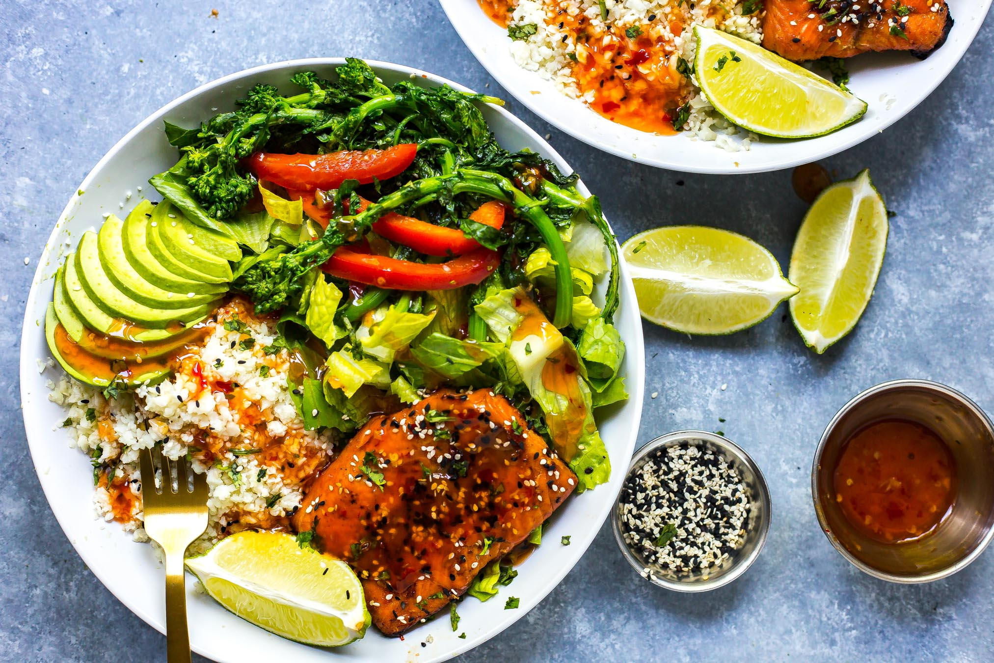 Chili Lime Salmon Bowls with Broccoli Rabe and Cauliflower Rice
