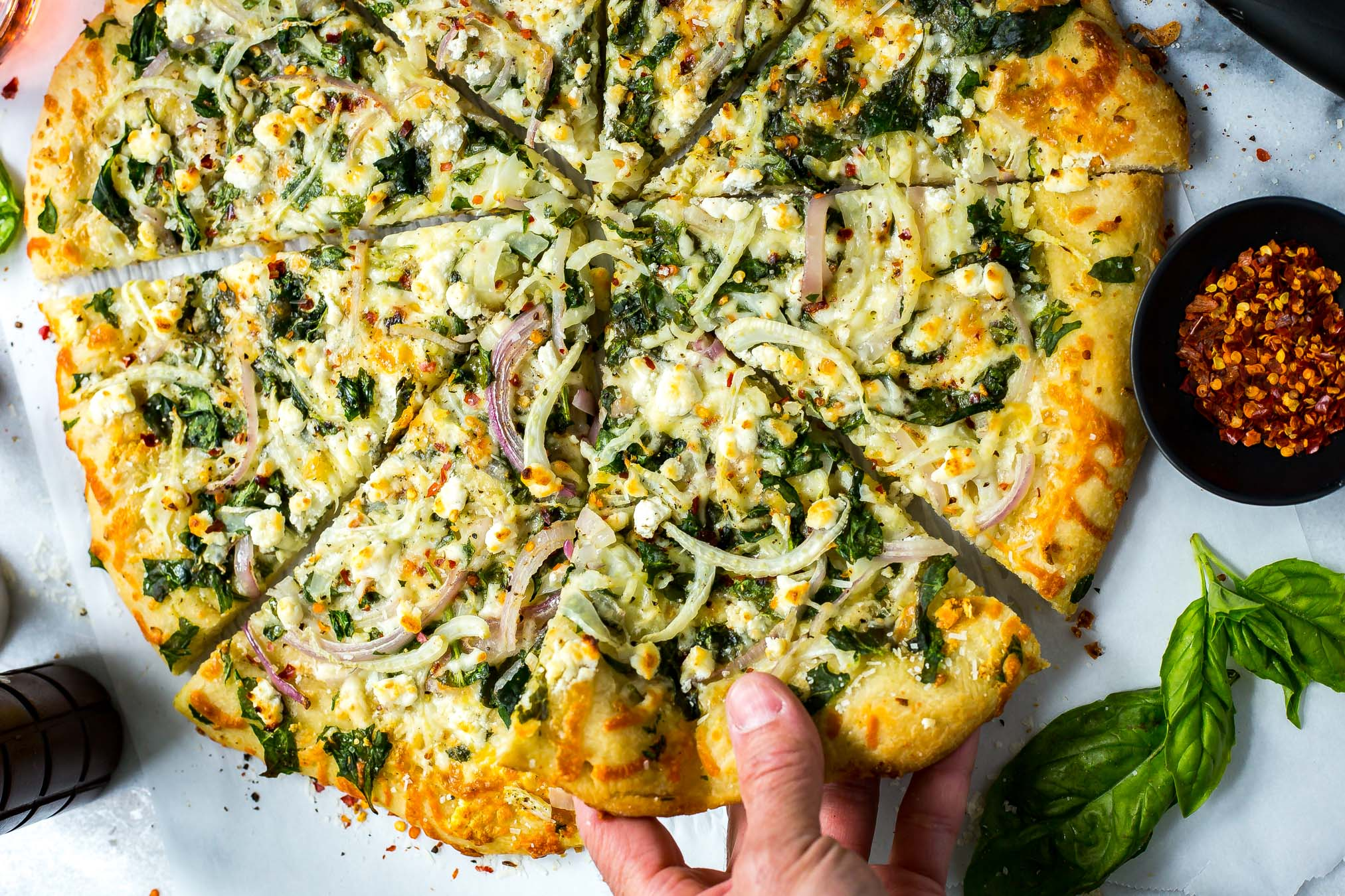 Spinach, Fennel and Goat Cheese Pizza