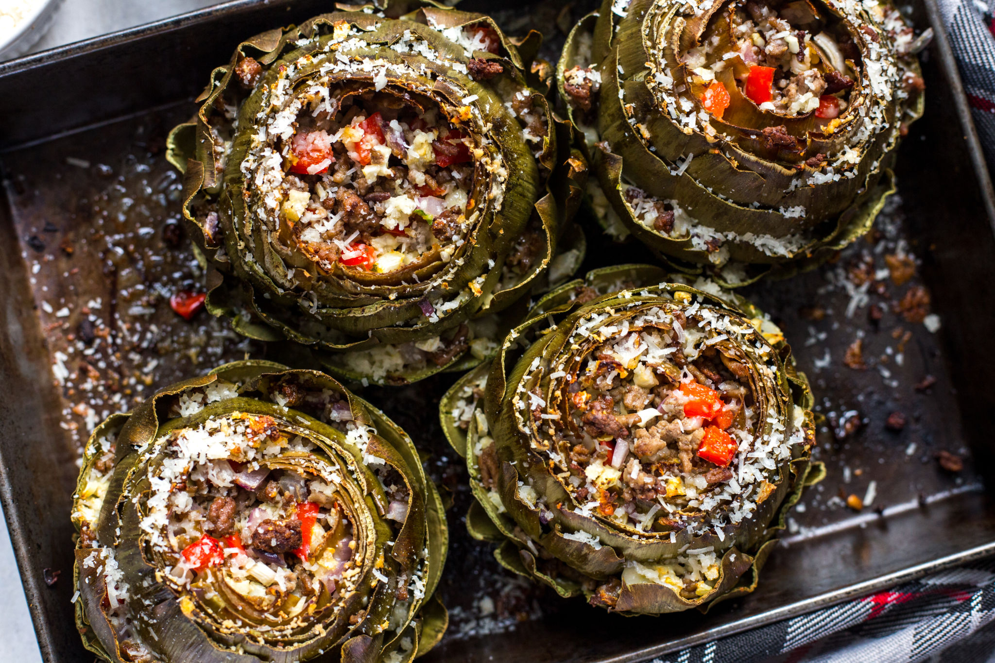 Stuffed Artichokes with Cauliflower Rice
