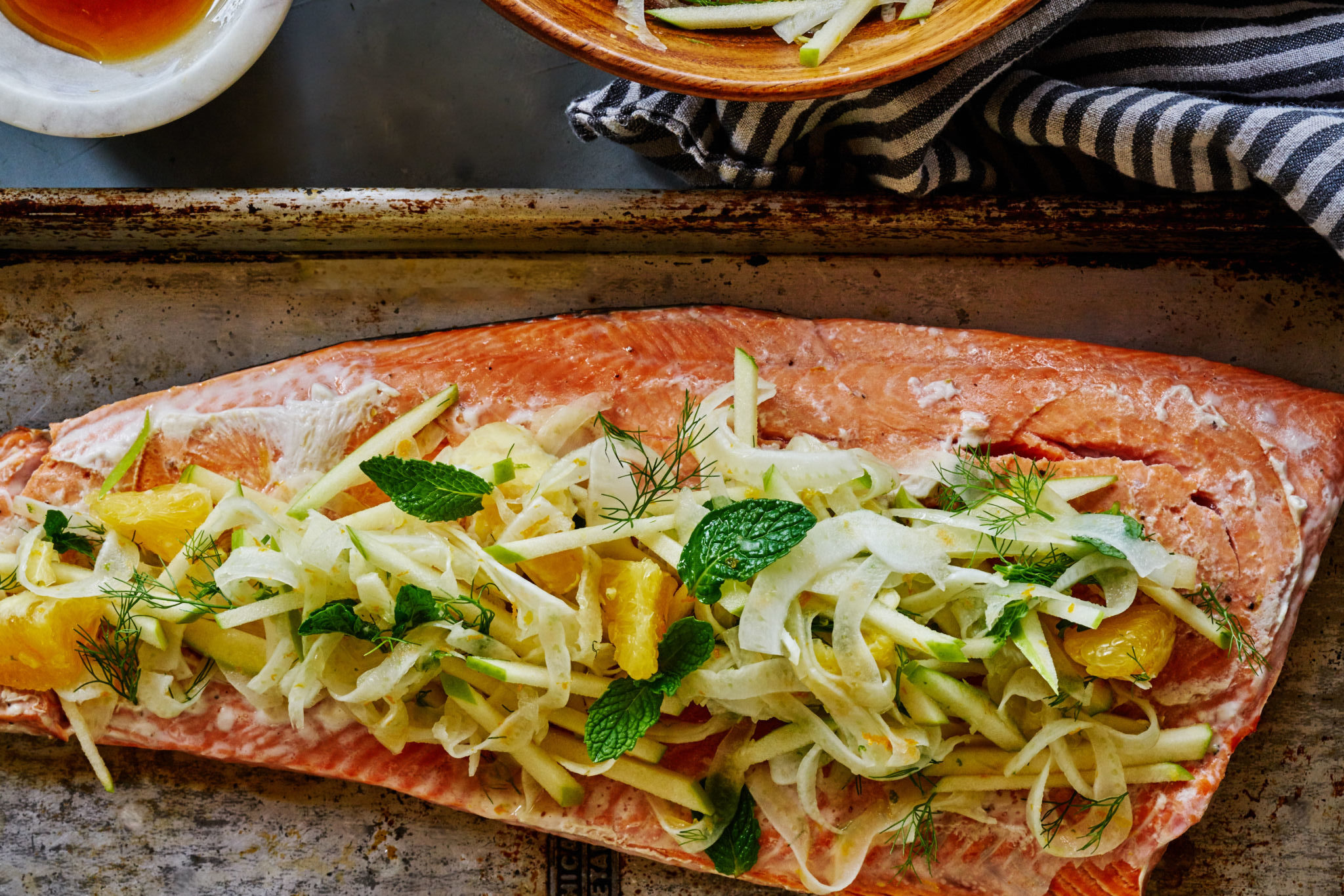 Citrus Salmon with Fennel, Citrus and Mint Slaw