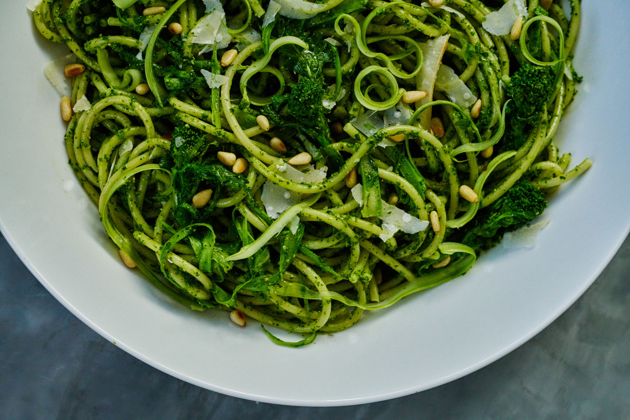 Broccoli Rabe Bucatini with Broccoli Rabe Pesto