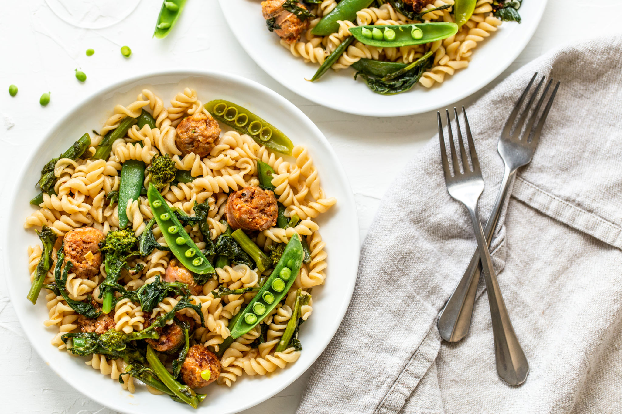 Gluten Free Rotini with Sausage and Broccoli Rabe in a White Wine Sauce