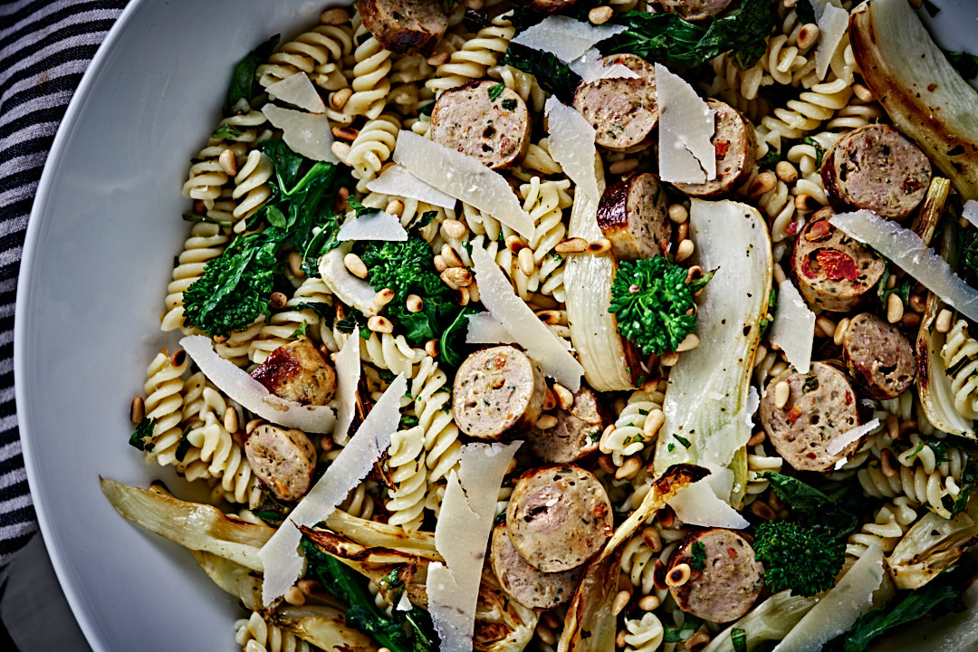 Lemon and Herb Fusilli with Broccoli Rabe, Fennel, and Sausage