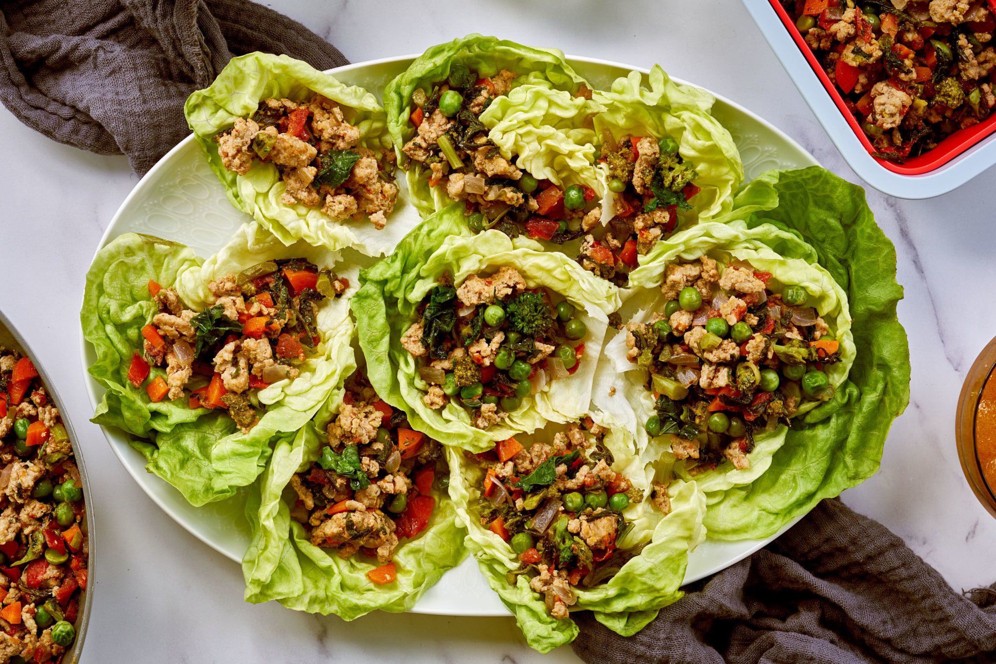 Turkey and Broccoli Rabe Lettuce Cups with Thai Chili Ginger and Sweet and Sour Dipping Sauces