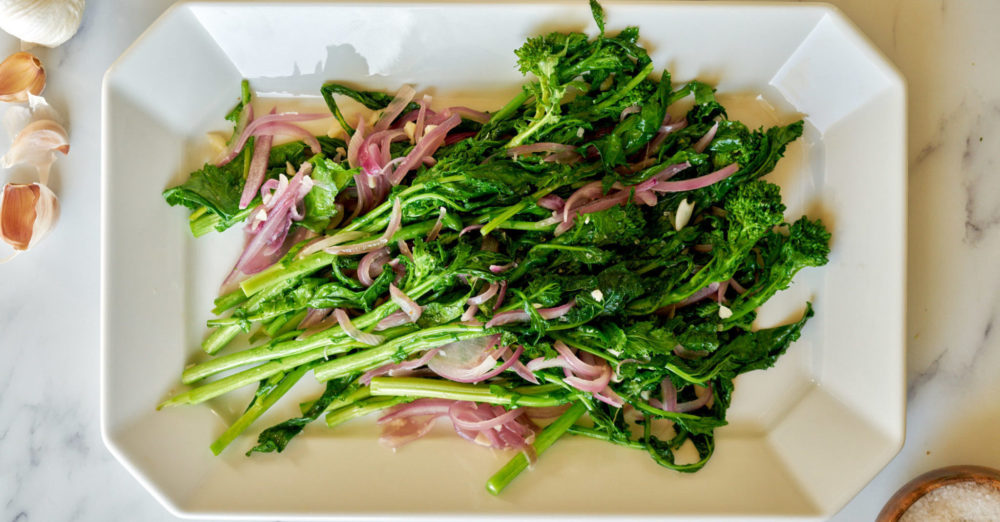 Sautéed Broccoli Rabe with Red Onion and Garlic