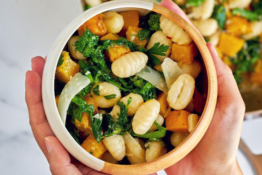 Broccoli Rabe and Pumpkin Aglio e Olio Gnocchi