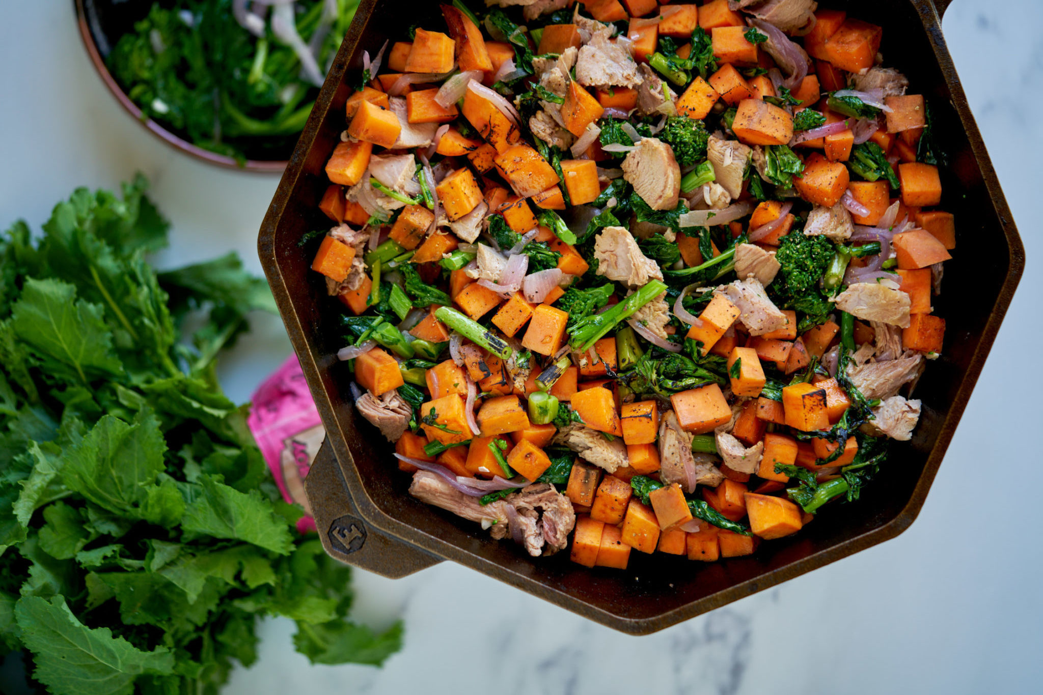 Broccoli Rabe, Turkey and Sweet Potato Hash