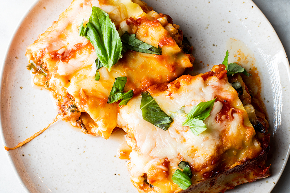 Broccoli Rabe and Cauliflower Lasagna Roll Ups